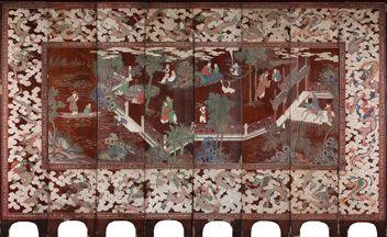 Wood sscreen in laque de Coromandel, Chin Dynasty,  Qing, End of 18th century Musée Madoi (Musée des Arts Décoratifs de l'Océan Indien), Inv MO.2012.2234.