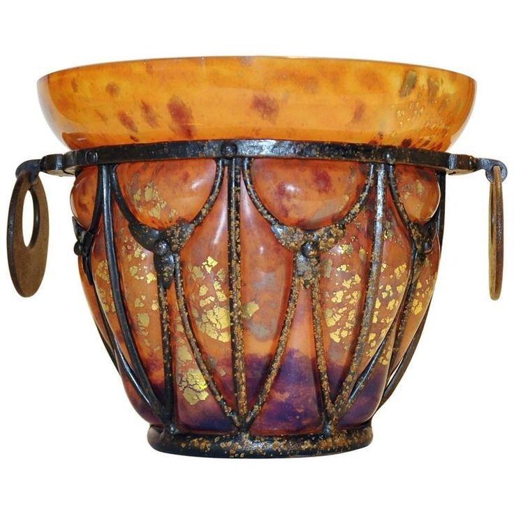 Daum and Majorelle Glass and Wrought Iron Vase 1