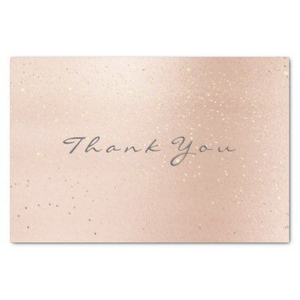 Pastel Rose Gold Confetti Gray Thank You Name Tissue Paper - blush pink gifts unique special diy custom