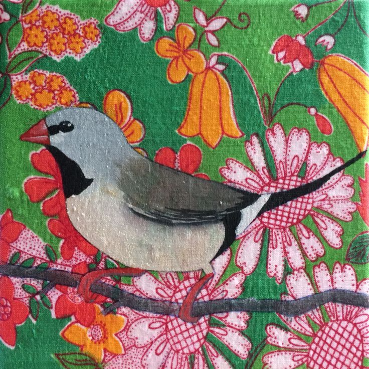 Long tailed finch by Mandy Tootell. Gouache on fabric. Katherine, Northern Territory, Australia.
