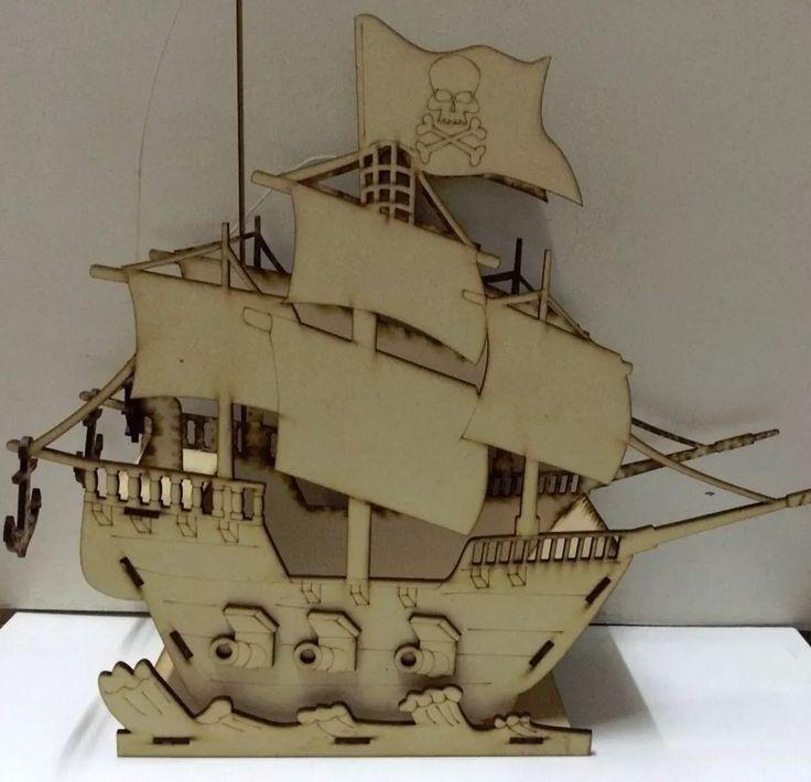 Porta Cupcakes O Caramelera Barco Pirata Mdf Laser - $ 435,00 en Mercado Libre