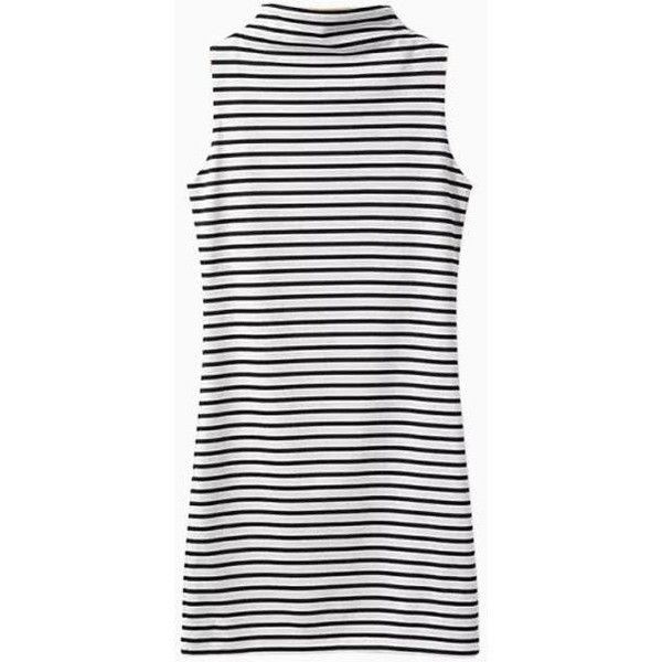 High Neck Sleeveless Dress in Stripe (£16) ❤ liked on Polyvore featuring dresses, vestidos, choies, clothes - dresses, high neck white dress, white dress, white sleeveless dress, white stripe dress and no sleeve dress