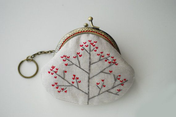 Heart Tree Embroidery Purse Metal Frame red by lazydoll on Etsy, $19.90