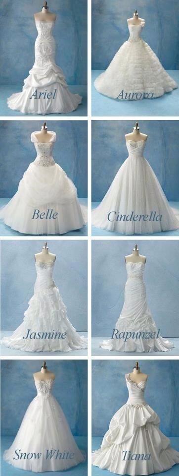 Disney wedding dresses! I really like the Cinderella one! And Snow White! But honestly, the Cinderella dress is to die for!!! Absolutely gorgeous and amazing! My dream wedding dress. Scratch that. Not a wedding dress I'll dream to have, but it's the wedding dress I will have. Trust me!!!!