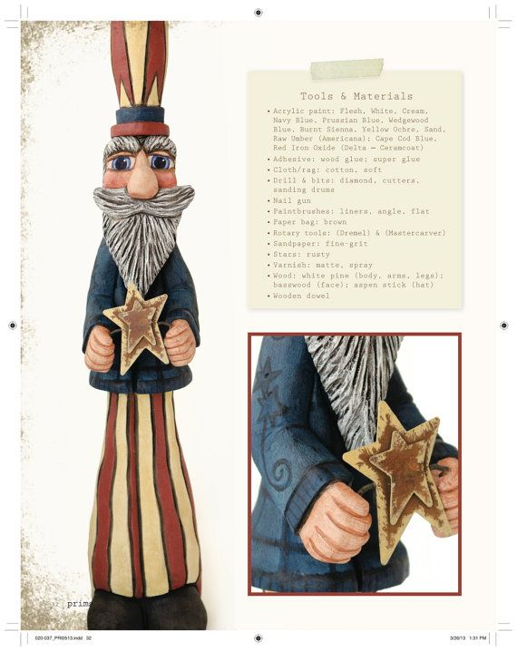 Uncle Sam Folk Art Doll Wood Carving is Featured by llacarve, $70.00