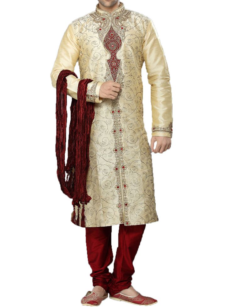 Perfect for that special occasion. This embroidered three piece Sherwani is embroidered to fit for royalty. Available in various colors. - Customized according to your size - Available in Cotton, Raw