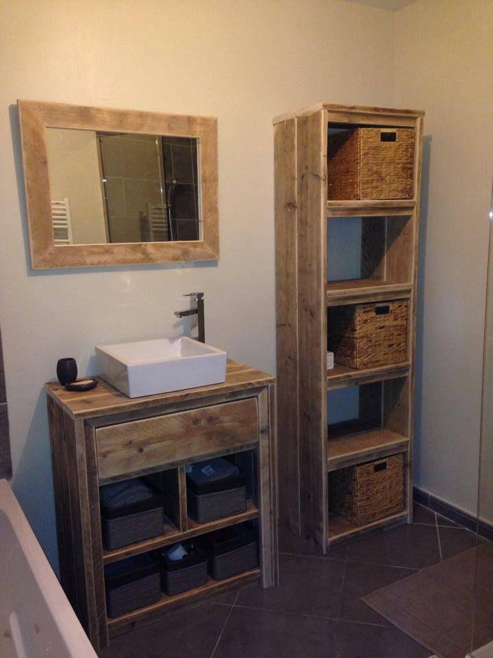 Meuble salle de bain miroir et tag re pays bois salle - Etagere salle de bain bois ...