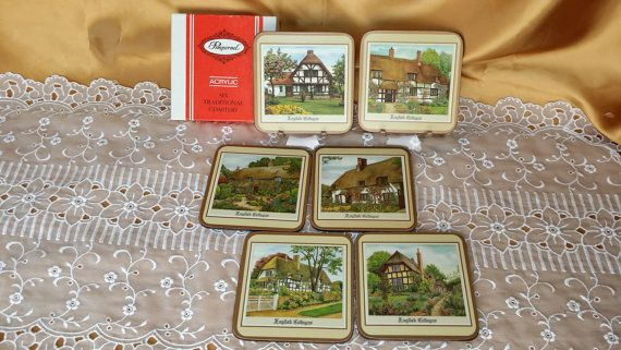 """Vintage Pimpernel """"English Cottages"""" Acrylic Traditional Coasters Set of Six 6 with Cork Backs Made in England - IOB in original Box NIP"""