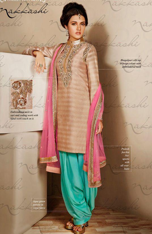 USD 83.45 Beige Bhagalpuri Silk Punjabi Suit 54395