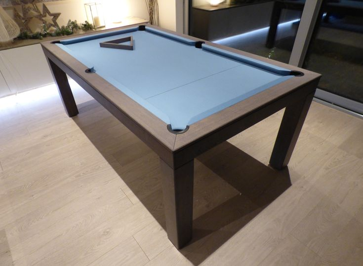 6ft English Contemporary Pool Table, Oak Colour #13 Matt, Hainsworth Smart Powder Blue Cloth, Elastic Pockets and Leg #1.