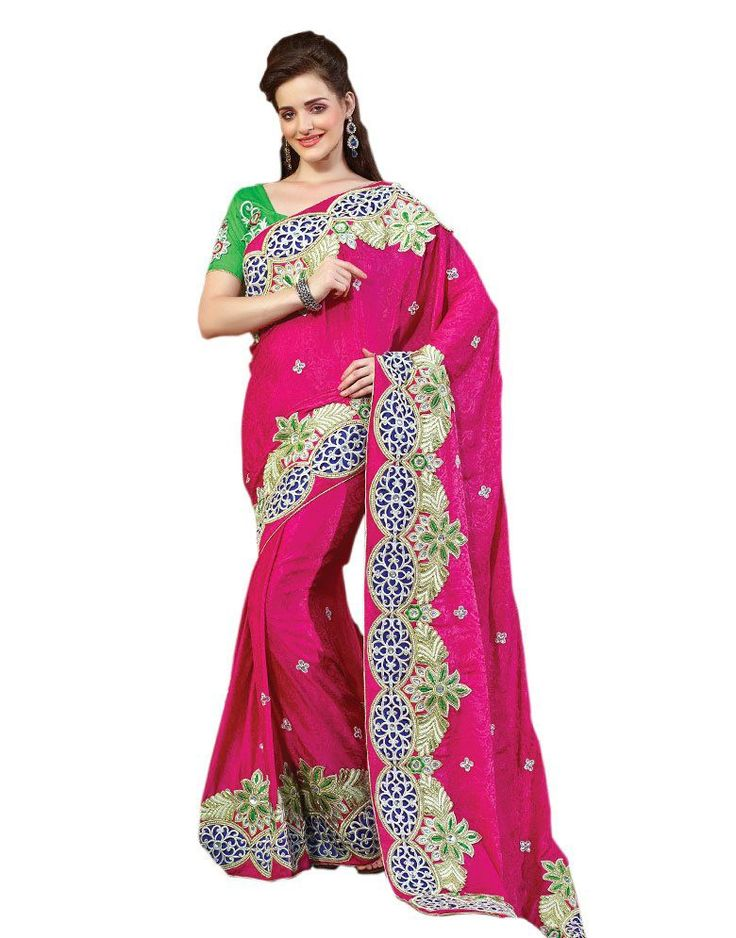 Pink Embroidered Faux Georgette Saree