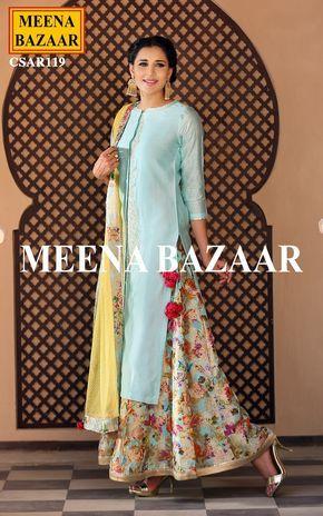 Blue Chanderi Sharara Suit @ MeenaBazaar