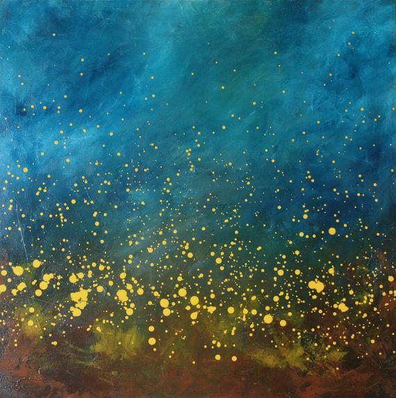 Chasing Fireflies II turquoise blue aqua yellow modern art mid century large original acrylic painting on canvas