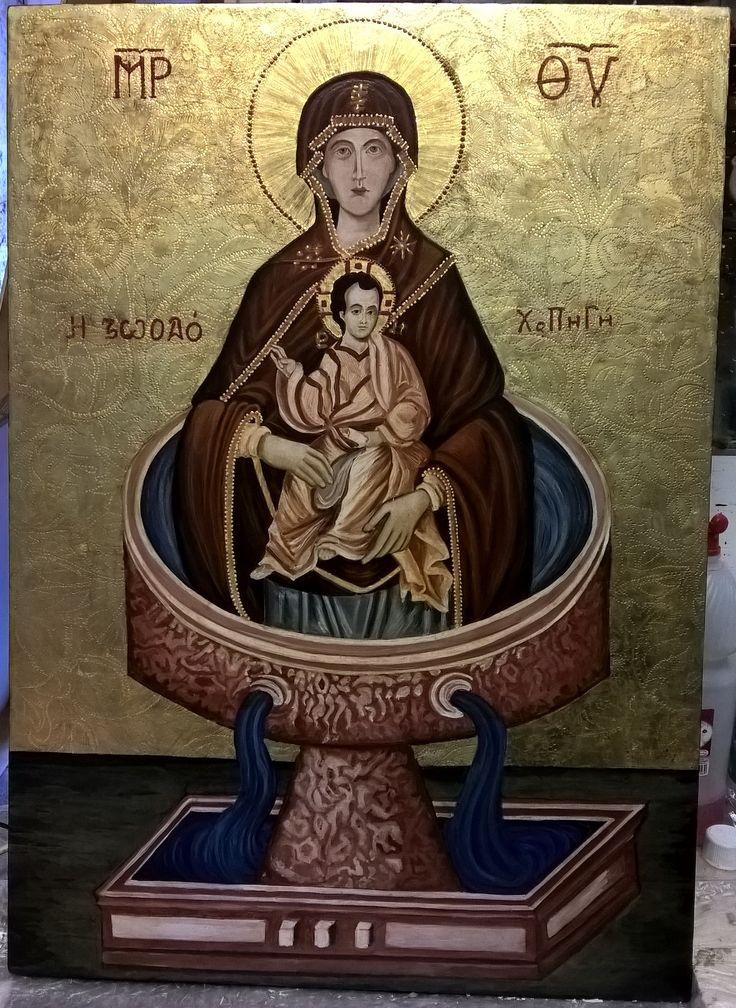 Madonna Fonte della Vita. Tempera all'uovo e oro zecchino su tavola di tiglio. 50 x 70 cm. Opera su commissione.