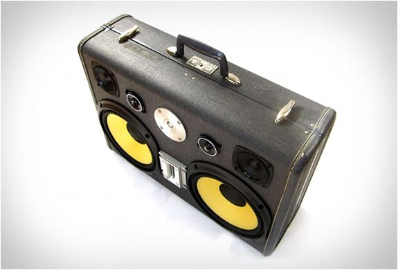 Boomcase is a rechargeable vintage suitcase boombox handmade in California. Each Boomcase is made with repurposed vintage suitcases, and can play music for over 10 hours on a single charge. All feature a battery meter, aux input, volume control, powe