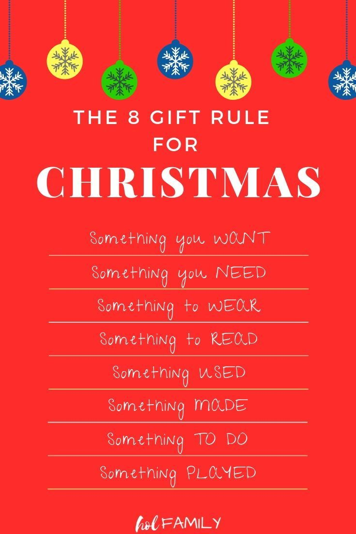 The Eight Gift Rule For Kids To Keep Christmas Stress Free Frugal Christmas Budget Friendly Christmas Gifts Christmas Tress
