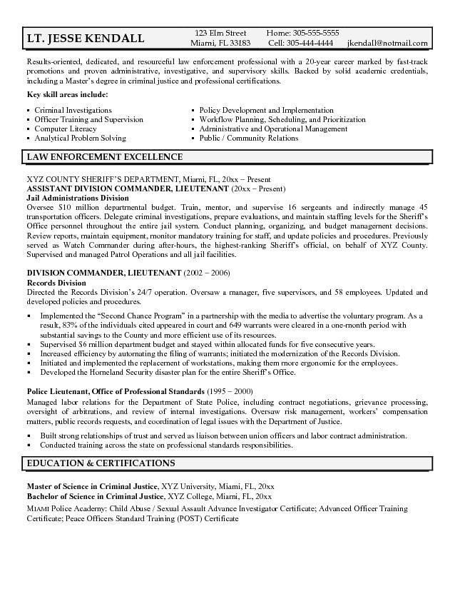 Example Police Lieutenant Resume - Free Sample
