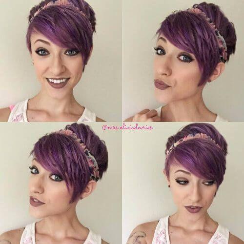 layered pixie cut purple hair