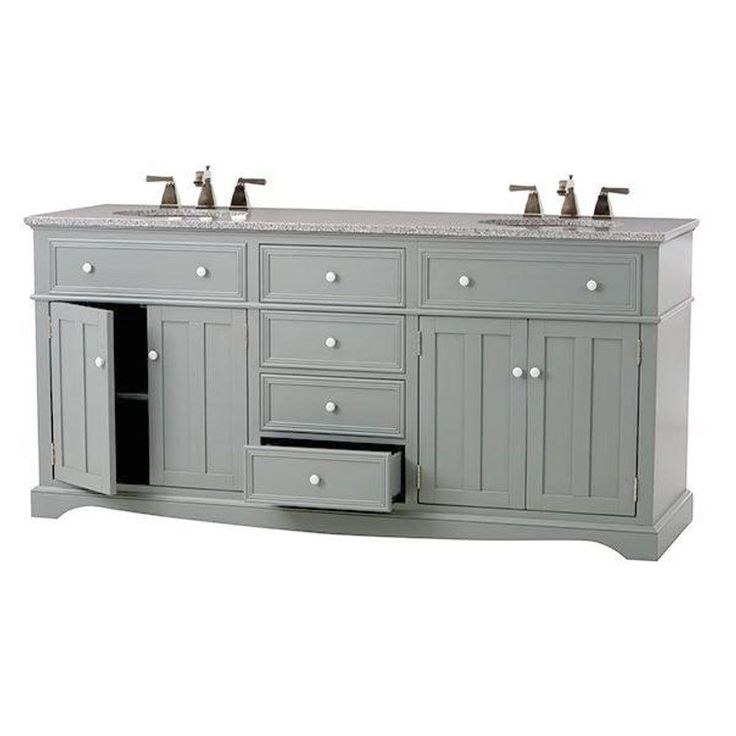 Home Decorators Collection Fremont 72 In Double Vanity In Grey With Granite Vanity Top In Grey