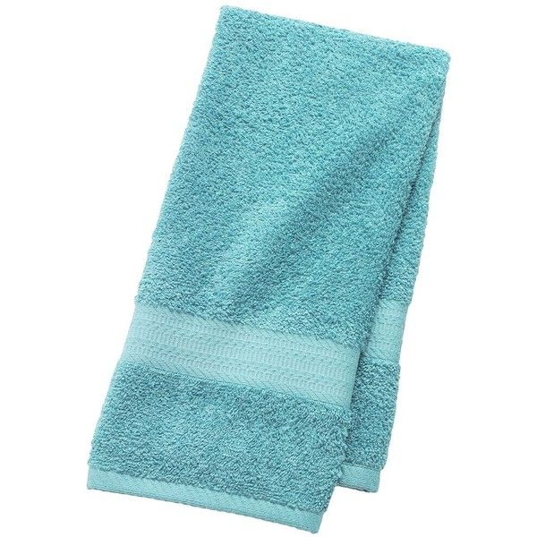 The Big One Solid Hand Towel, Blue ($7.99) via Polyvore featuring home, bed & bath, bath, bath towels, blue, cotton bath towels, cotton hand towels, patterned bath towels, blue bath towels and blue hand towels