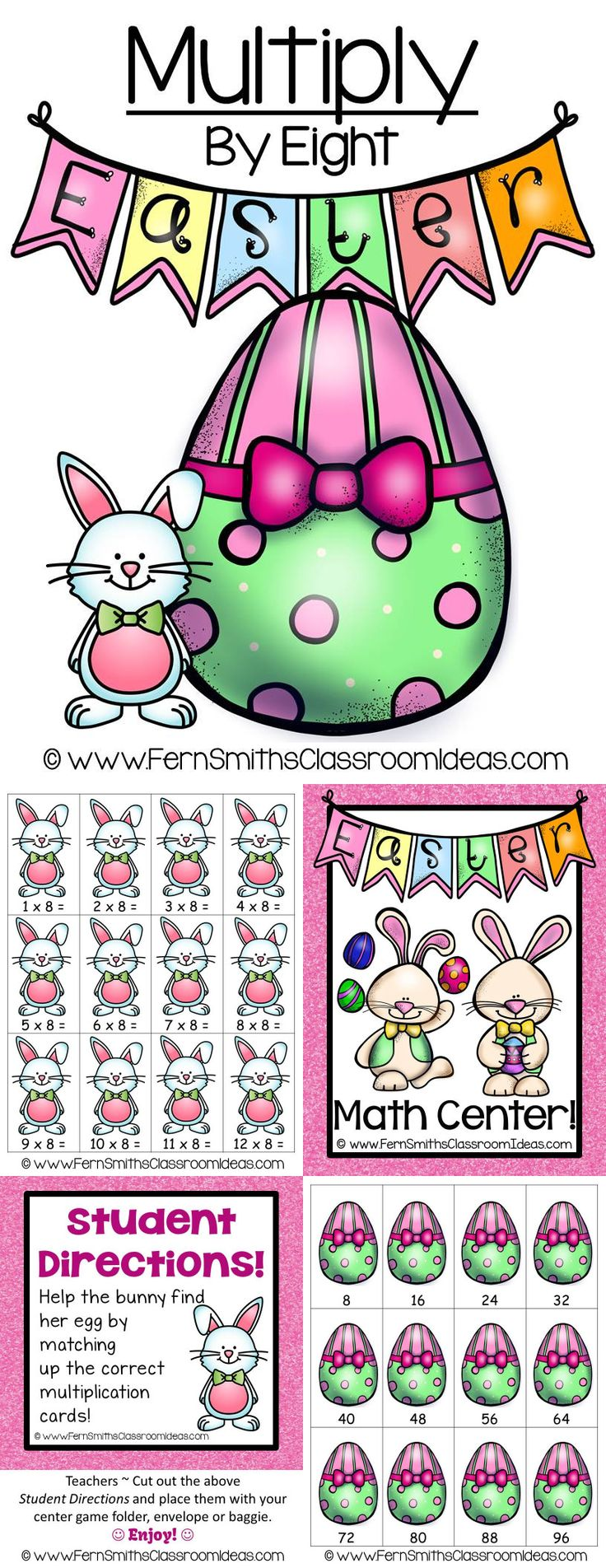 Quick and Easy to Make #Multiplication Center Game Multiply By Eight Concept for Easter #TPT $Paid #math