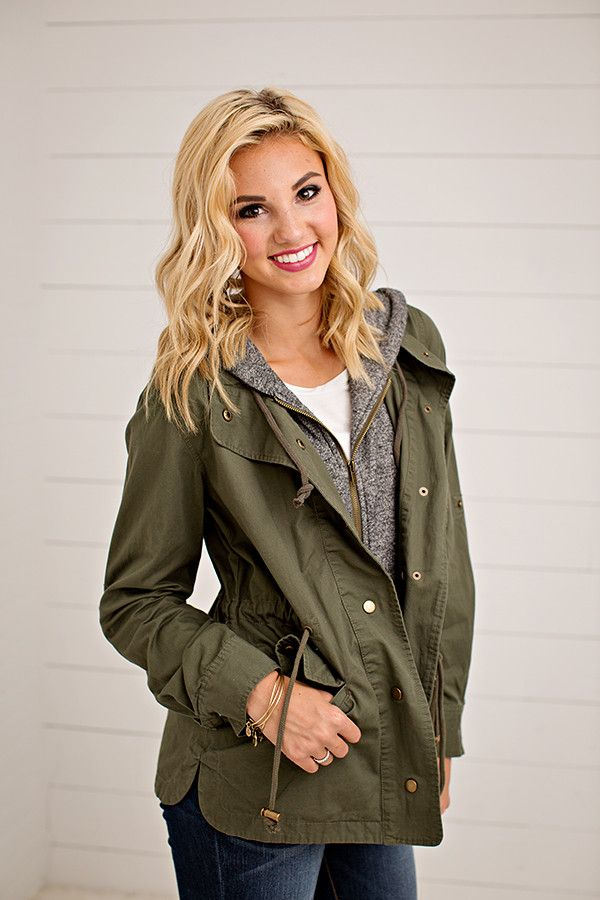 TERRY HOOD UTILITY JACKET   3 COLORS This jacket has us so excited for those cool fall nights! You will be wearing this all fall and winter long. This jacket h
