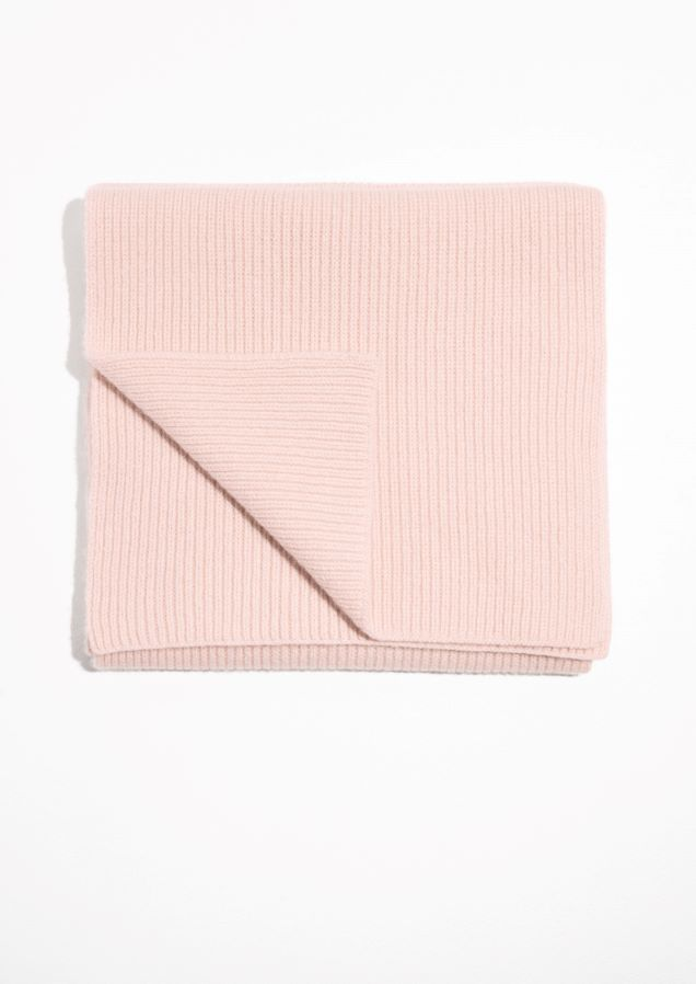 & Other Stories image 1 of Ribbed Cashmere Scarf in Pink