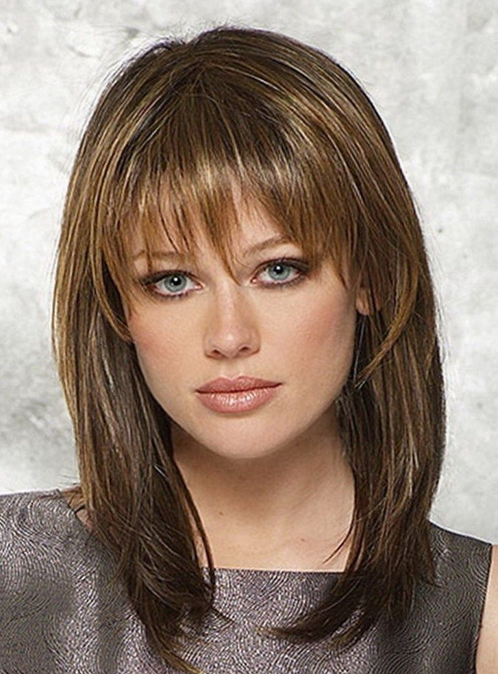 shoulder length hair with bangs styles 1000 ideas about mid length hairstyles on mid 6364 | ae5596fea4b9266453f20cca417ecc38