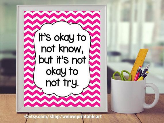 Classroom Rules, Teacher Classroom Decor, Pink Chevron Classroom Decor, Okay to Not Know, Teacher Gift, Quote Poster, Door Decoration Sign