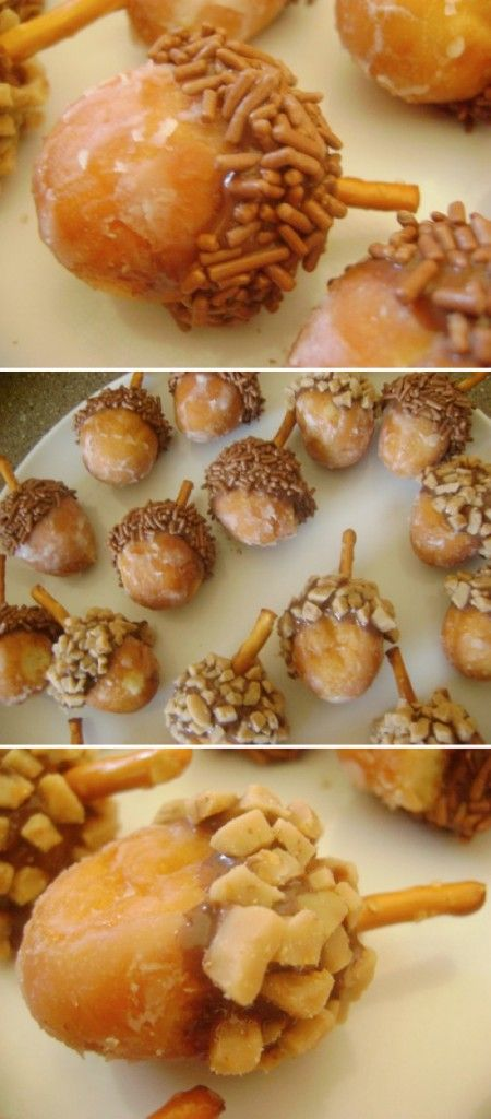 Thanksgiving -Start with donut holes, dip in Nutella, toffee bits, nuts,  and add a stick pretzel. Cute!