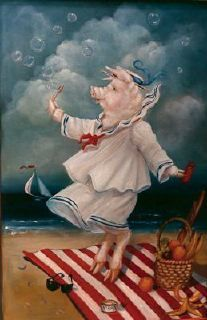 Trompe L'oeil - Pig / Bubbles On A Beach Custom painting for Childrens' Hospital, Dallas / 4'x5' oil on wood  © Pamela Silin-Palmer 1985
