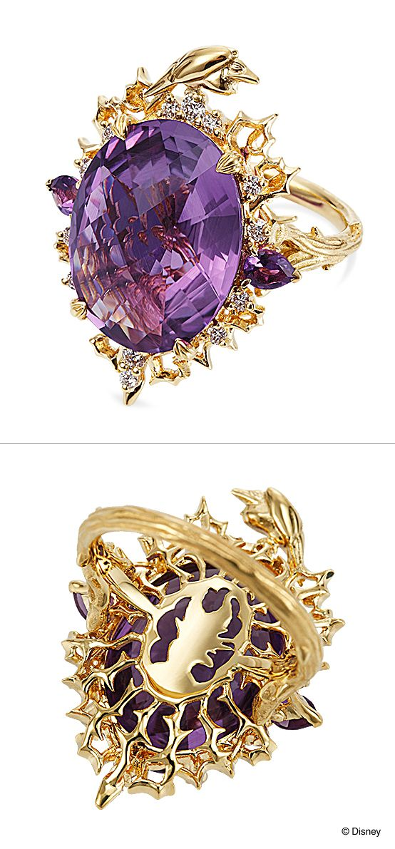 """Ring [MALEFICENT(Villains collection)]: Maleficent, Movie """"Sleeping Beauty.""""./ 【Ring-MALEFICENT-マレフィセント~Villains collection~(ヴィランズコレクション)】映画『眠れる森の美女』をイメージし「イバラ」とカラスの「レイバン」、裏側に施された「マレフィセント」のシルエットがあやしく浮かぶリング。※一部店舗でのみ展示しております。展示店舗についてはお問合せください。/ K.uno is a jewelry brand in Japan. We create bridal and fashion jewelry and apparels from our original to custom made designs. ◆HP→http://www.k-uno.co.jp/ ◆MAIL→k-uno@k-uno.co.jp"""