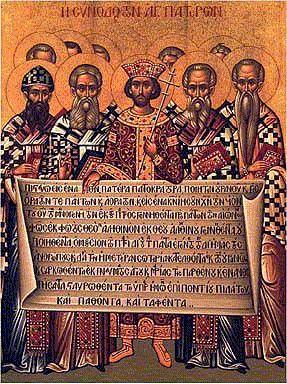 Ikone: Das 1. Konzil von Nicäa. Kaiser Konstantin entrollt den Text der ersten Hälfte des Nicänischen Glaubensbekenntnises