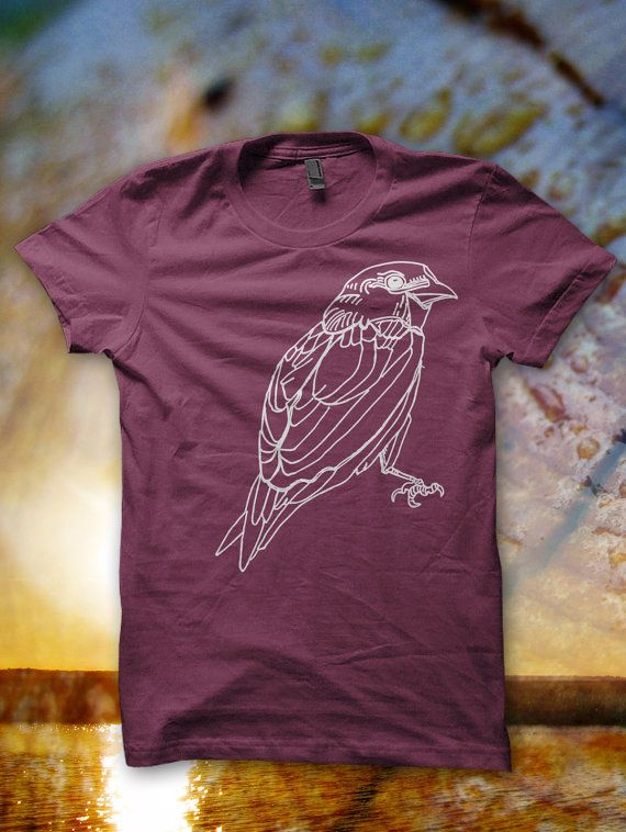 Womens Tshirt Sparrow Fitted Bird Shirt Graphic by forestandfin, $26.00