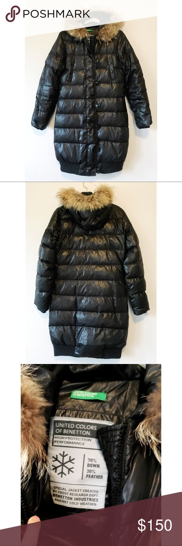"""United Colors of Benetton Long Puffer Jacket ITEM: United Colors of Benetton Puffer Jacket Material: Polyester Shell, 70% Down/30%Feather Filling, Fur Hood Lining Labeled size: 40 Condition: EUC. No rips, stains, or tears. Missing original belt. Minor pilling on ribbing at bottom of coat. MEASUREMENTS TAKEN FLAT: Waist: 17.5"""" Length: 36"""" Bust: 19"""" Shoulders: 16.5"""" Sleeve Length: 24"""" United Colors Of Benetton Jackets & Coats Puffers"""