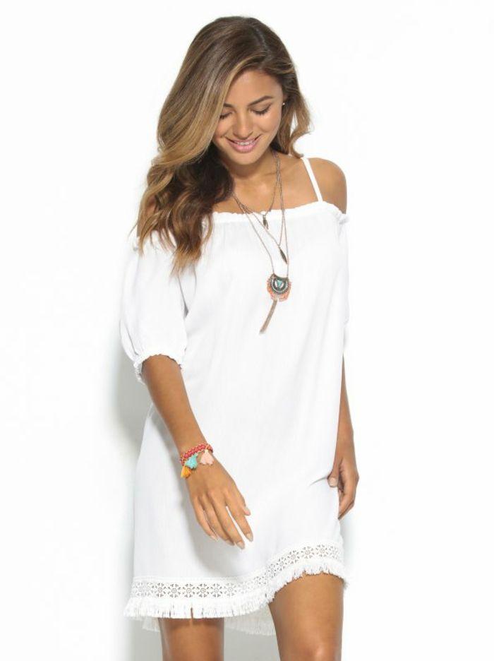Vestido corto blanco ibicenco