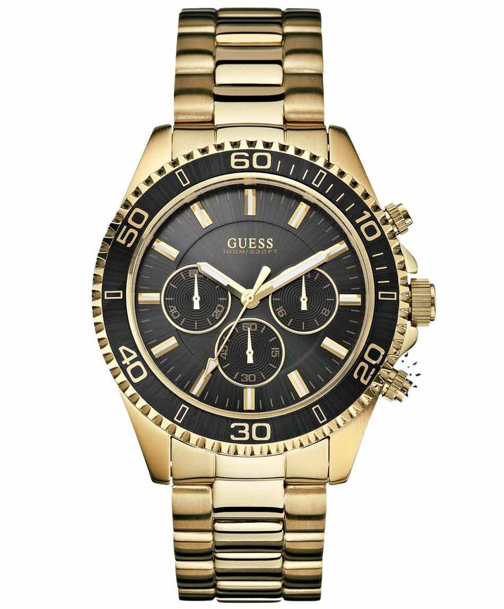 GUESS Gold Stainless Steel Bracelet Chronograph Η τιμή μας: 203€ http://www.oroloi.gr/product_info.php?products_id=33433