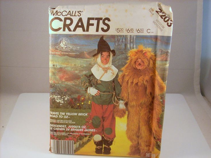 1985 McCALL'S 2203 LION & SCARECROW COSTUME ADULT & CHILDREN #McCall