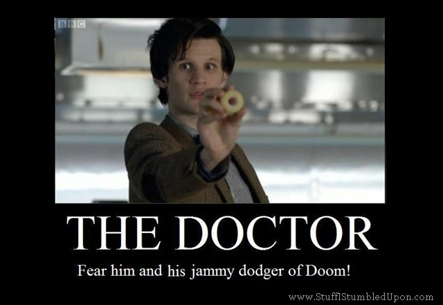 Image of the 11th Doctor holding a jammy dodger