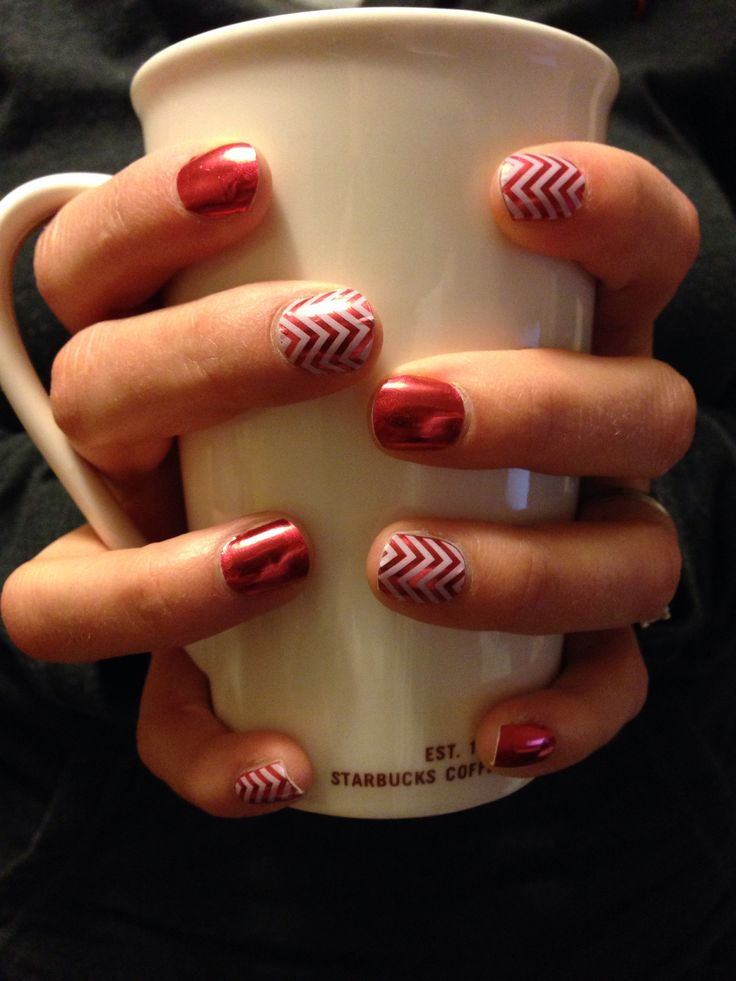 Fire engine red (glimmer) layered with white chevron -Jamberry
