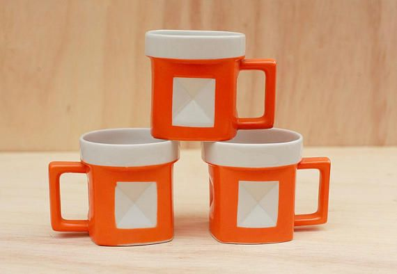 Mid Century Modern Orange Mugs from rend Japan set of 3