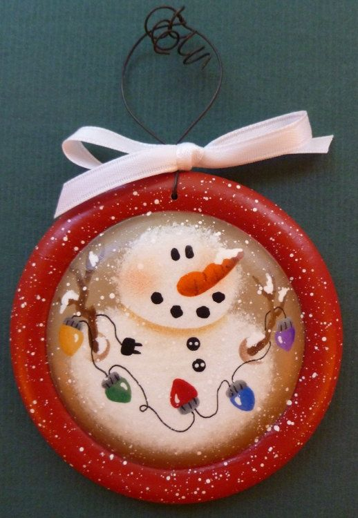 Image detail for -Snowman Lights Hand Painted Wood Ornament by CarolAnnsTole on Etsy
