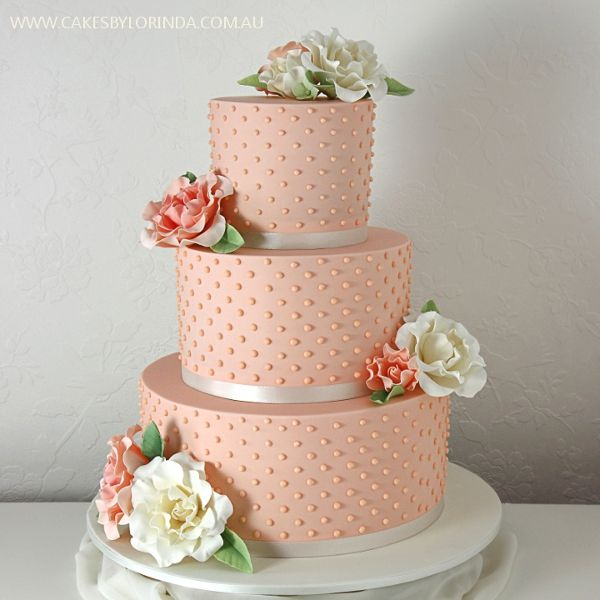 Reference: 1468. Peach wedding cake with piped beads and handmade peach and ivory roses  Image 8 of 57