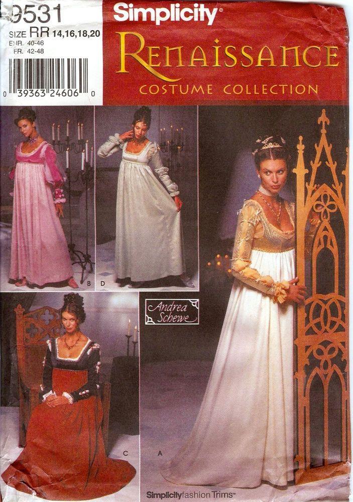 Simplicity 9531 Renaissance Costume Empire Waist Dress