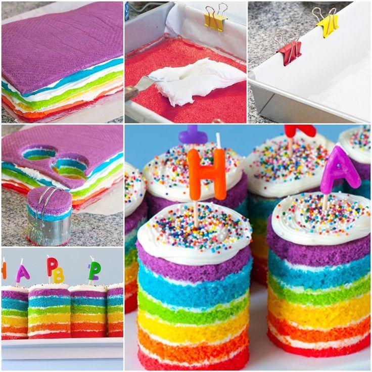 DIY Teeny Tiny Rainbow Cakes