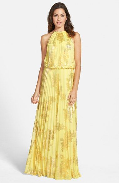 Xscape Foiled Pleated Jersey Blouson Dress (Regular & Petite) available at #Nordstrom