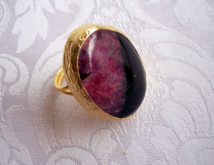 Handmade black-purple with oval shape agate ring gold plated semiprecious gemstone, jewelry and balance by GardenOfLinda on Etsy
