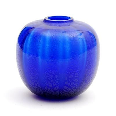 "Cobalt blue glass ""Sonoor"" vase with vertical crackled bands, design A.D.Copier 1935, executed by Glasfabriek Leerdam / the Netherlands"