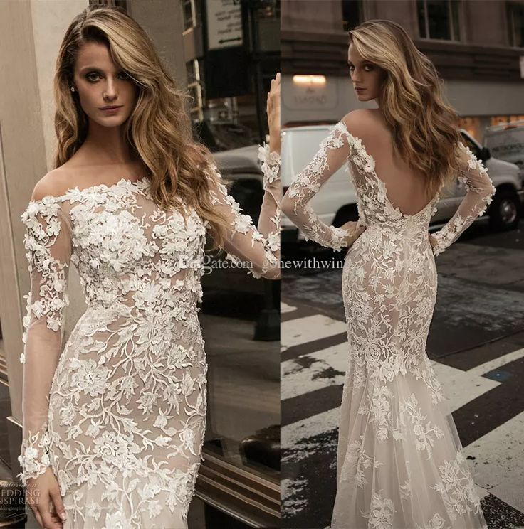 2017 Long Sleeve Berta Bridal Lace Wedding Dresses Off The Shoulder Full Embellishment Elegant Beautiful Sheath Low Back Wedding Gowns Column Wedding Dresses Lace Sheath Wedding Dresses From Gonewithwind, $1005.03| Dhgate.Com