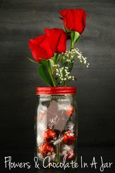 Flowers and Chocolate Gifts In A Jar